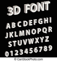 3D font letters and numbers of the English alphabet, vector