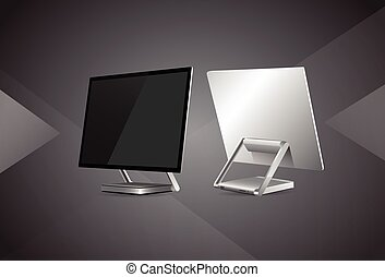 Desktop Monitor Workstation Blank Empty Screen Vector...