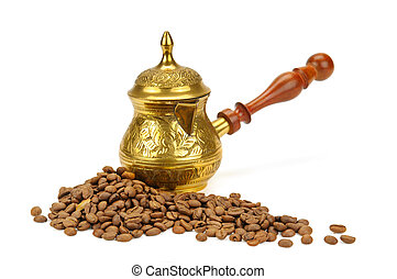 coffeepot and coffee beans isolated on white background