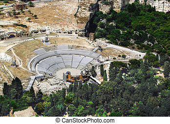Greek Theatre of Syracuse Sicily. Aerial view