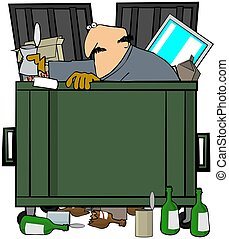 Dumpster Diver - This illustration depicts a man rummaging...