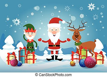 Smiling Santa Claus, Reindeer And Christmas Elf With Holiday Present Boxes Happy New Year