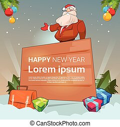 Santa Claus Christmas Holiday Happy New Year Banner With Copy Space