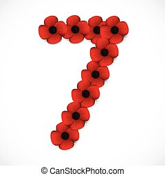 number seven in poppies