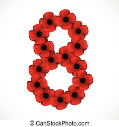 number eight in poppies