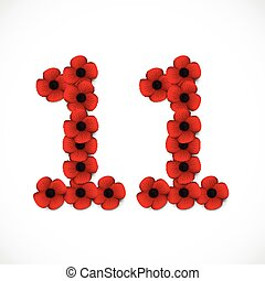 number eleven in poppies