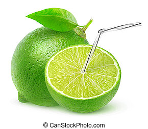 Isolated lime juice. One and a half lime fruit with straw in...