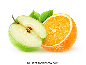 Isolated orange and green apple - Isolated orange and apple....