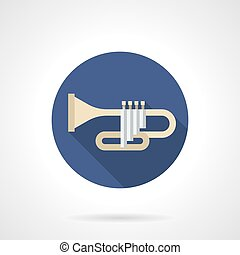 Bugle color round color vector icon - Symbol of trumpet or...