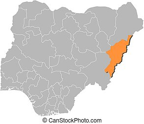 Map - Nigeria, Adamawa - Map of Nigeria with the provinces,...