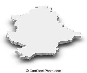 Map - Donetsk (Ukraine) - 3D-Illustration - Map of Donetsk,...