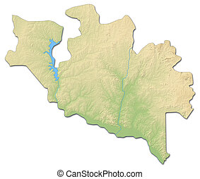 Relief map - Niger (Nigeria) - 3D-Rendering