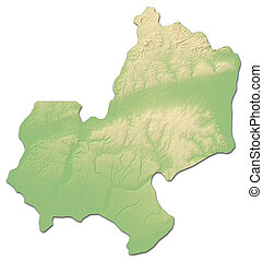 Relief map - Edo (Nigeria) - 3D-Rendering