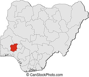 Map - Nigeria, Osun - Map of Nigeria with the provinces,...