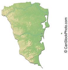 Relief map - South Caribbean Coast Autonomous Region (Nicaragua) - 3D-Rendering