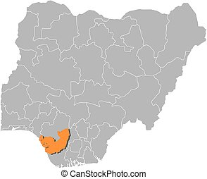 Map - Nigeria, Delta - Map of Nigeria with the provinces,...