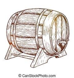 Sketch of beer barrel. Vintage style vector illustration.