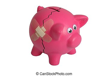 Broken Piggy Bank - Pink piggy bank with eyes and and...