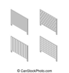 A set of isometric spans fences, vector illustration.