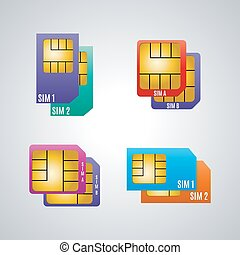 Icons dual sim card, vector illustration. - Icons dual sim...