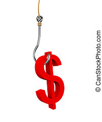 3d dollar sign symbol attached to fishing hook