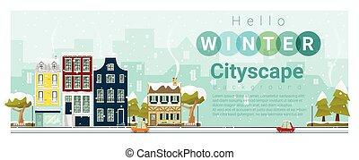 Hello winter cityscape background 3