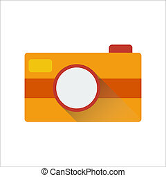 Camera icon with long shadow. Vector illustration - Camera...