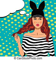 Pop art pretty woman with long hair and hat.