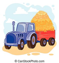 Vector illustration of cartoon tractor with trolley full of...