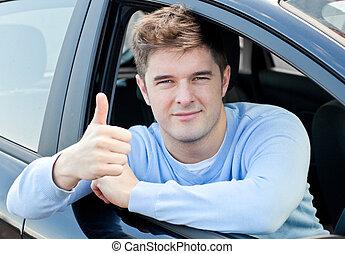 el suyo, pulgar, Sentado, coche, joven, Arriba, atractivo, hombre