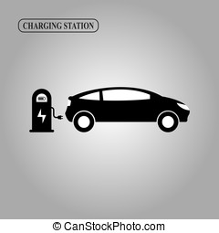 Electric car charging station icon