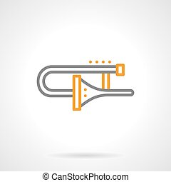 Trombone icon simple line vector icon - Brass wind musical...