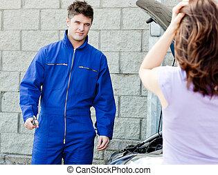 garage, femme, mécanicien, désespéré, beau
