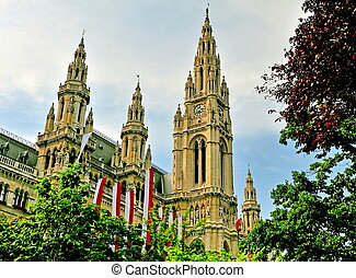 Towers of Vienna cityhall, Austria - Towers of Vienna...
