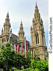 Towers of cityhall buildiing, Vienna, Austria