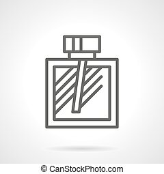 Cologne bottle simple line vector icon - Cologne bottle with...