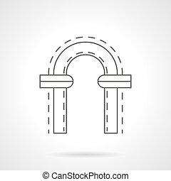 Arched window flat line vector icon