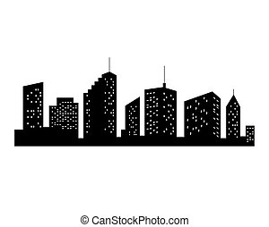 Vector Cities Silhouette. Black City Icon on white Background