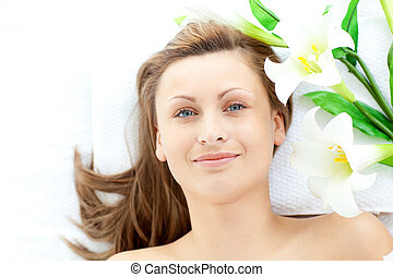 Portrait of an attractive woman in a spa center