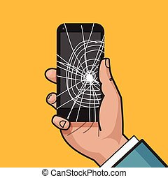 Smartphone with a cracked screen in a man's hand. Broken phone. Crack on screen. Vector illustration. Pop art style