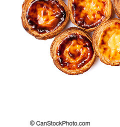 Traditional portuguese specialty tart name Nata isolated on...