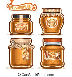 Vector logo Persimmon Jam in Jars with paper cover lid,...