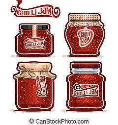 Vector logo Chilli Jam in Jars
