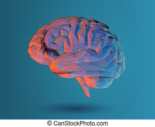 Low poly 3D brain illustration on blue background - Low poly...