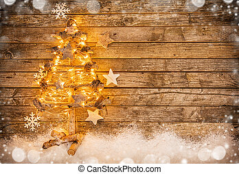 Christmas tree with decoration on wood - Christmas tree with...