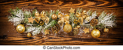 Christmas decoration with fir branches on wood - Christmas...