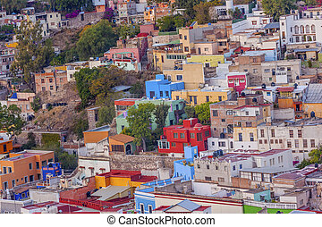 Many Colored Houses Guanajuato Mexico - Many Colored Orange...