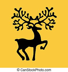 Deer silhouette illustration - Deer silhouette on the yellow...