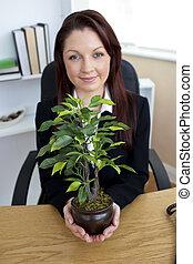 Pretty young businesswoman holding a plant sitting in her office looking at the camera