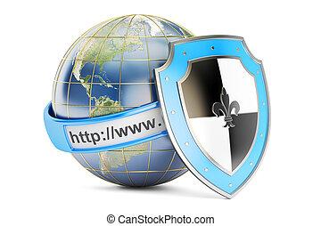 schutzschirm, begriff, Übertragung,  Internet, erde,  3D